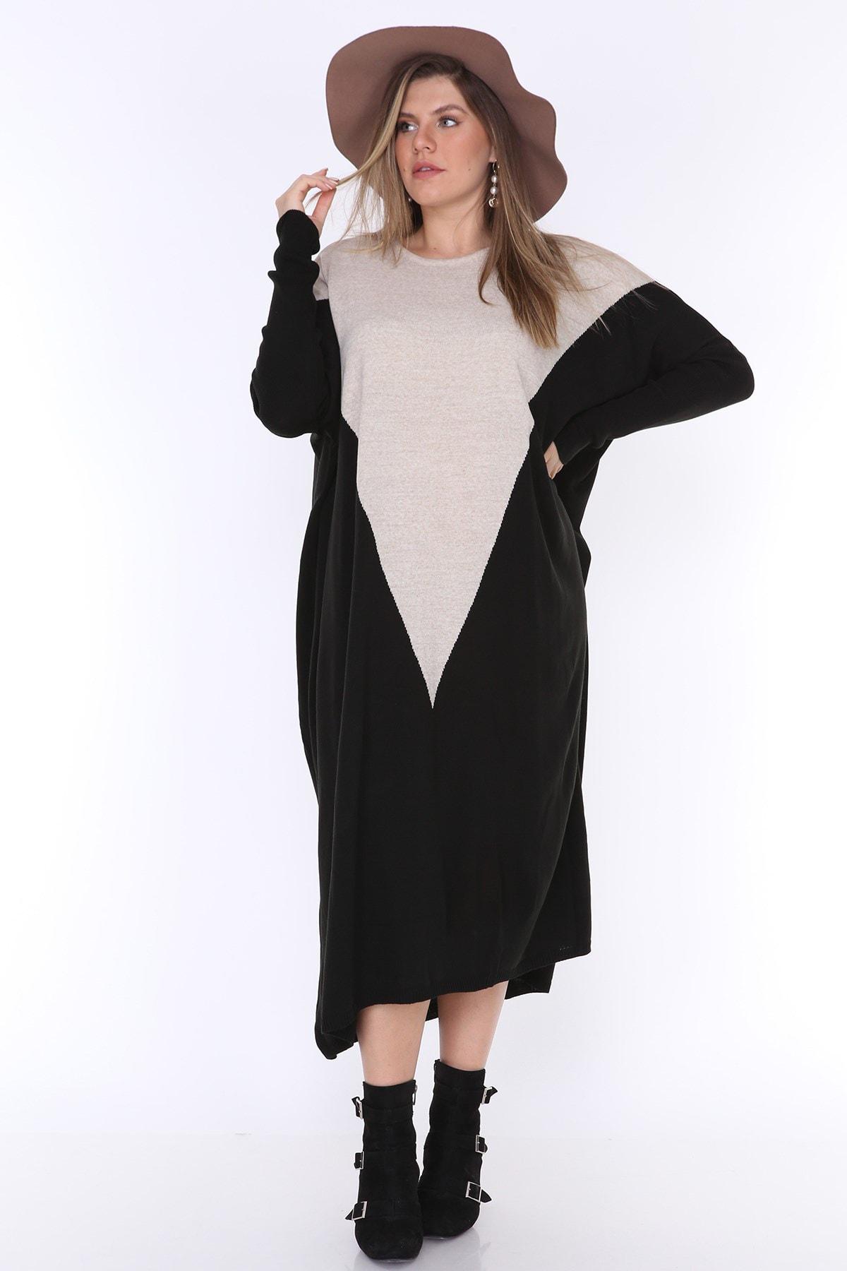 MJORA Kadın Siyah Önü V Triko Tunik ÇRG011 1
