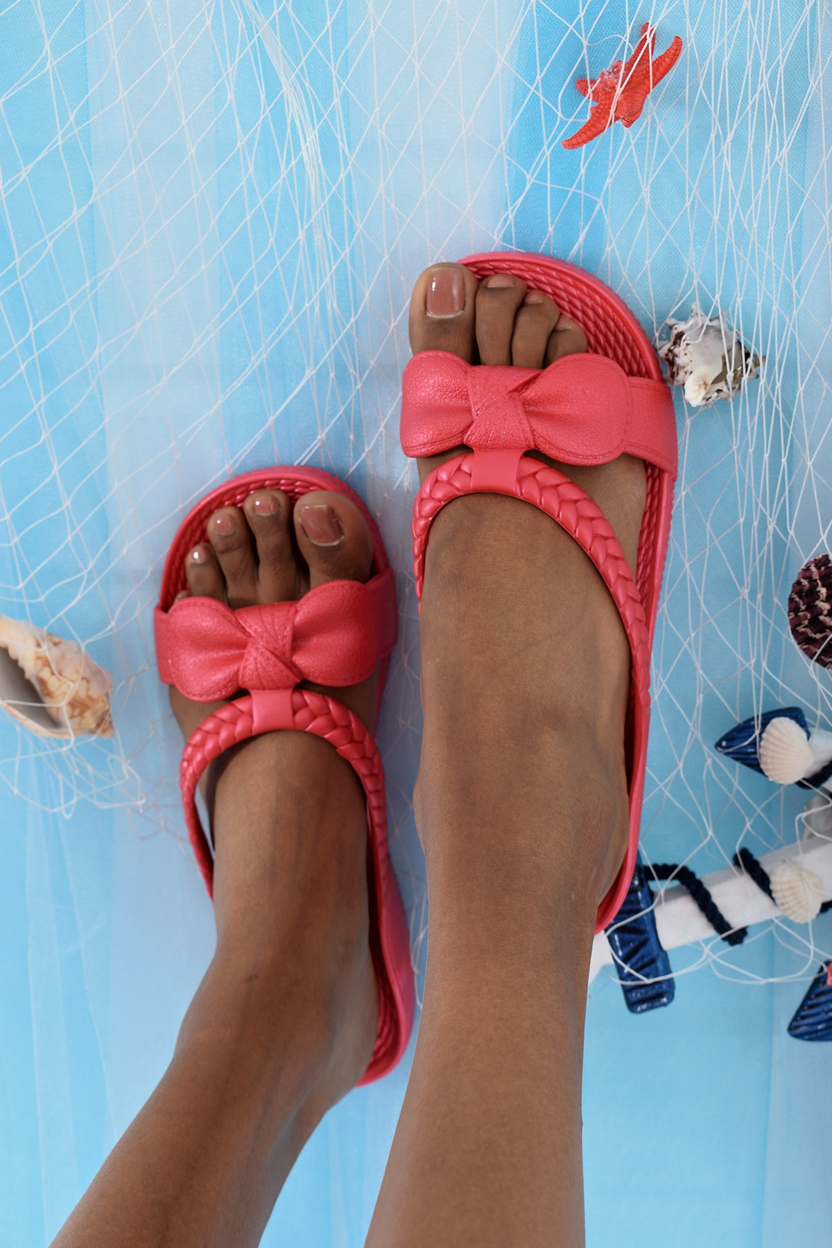 Ayakkabı Modası Kırmızı Kadın Terlik M9999-19-100230R 2
