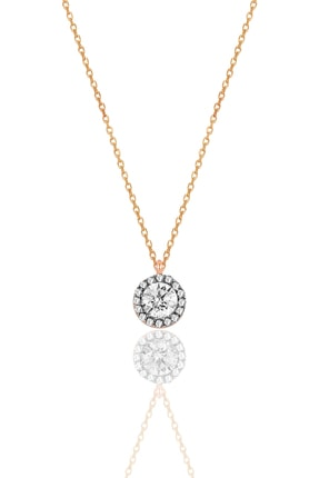 Söğütlü Silver Kadın Gümüş  Elmas Montürlü Tek Taş Kolye SGTL9907