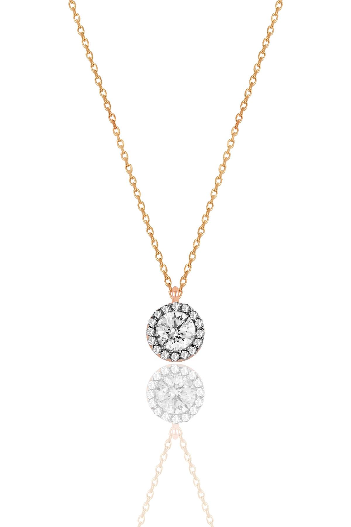 Söğütlü Silver Kadın Gümüş  Elmas Montürlü Tek Taş Kolye SGTL9907 1