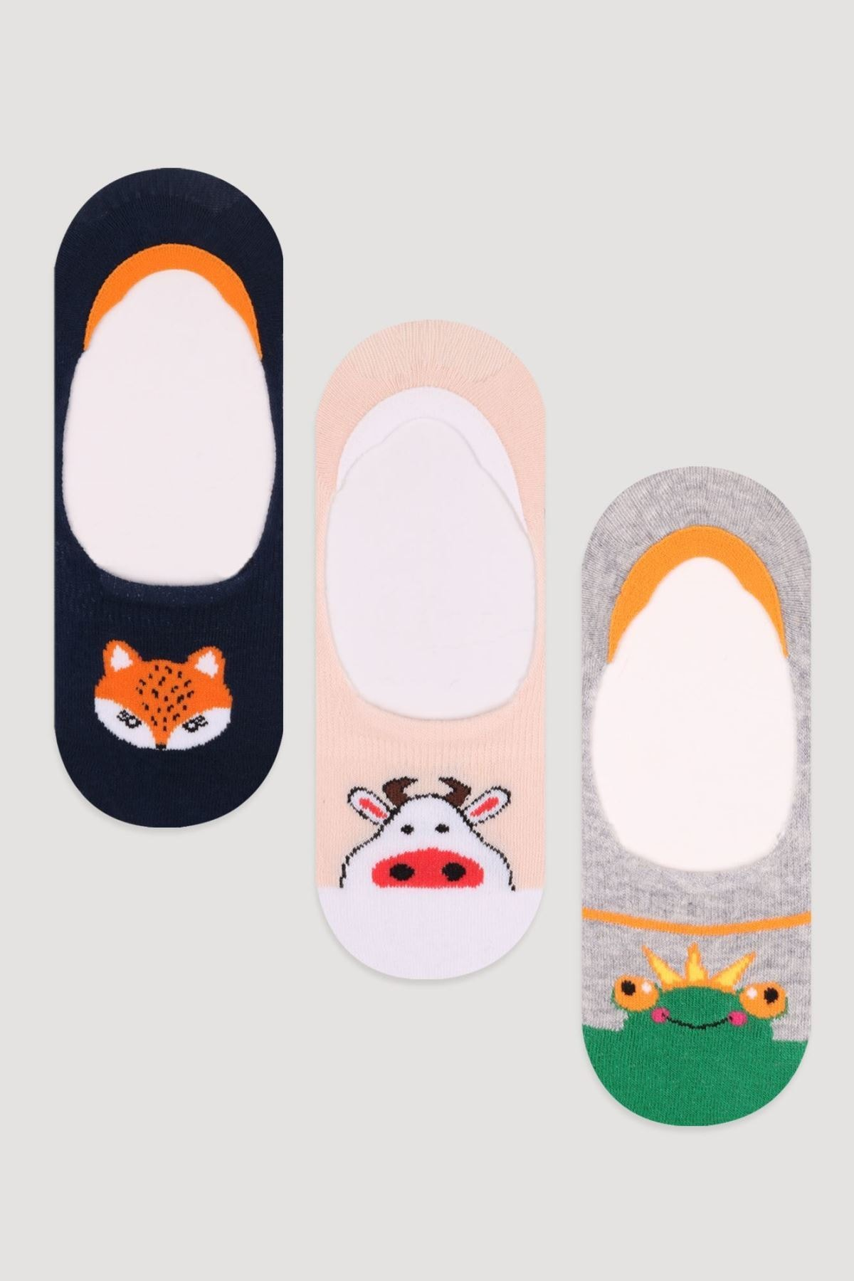 Bross Unisex Çocuk Asorti 3'Lü Paket Sevimli Hayvan Desenli Babet Çorabı