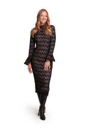 Mizalle Kadın Pembe Renk Detaylı Dantel Elbise 19KGMZL1010004