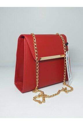 dizaynbag Kadın Kırmızı Suni Deri Zincir Askılı Çanta