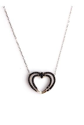 Sahra Zirkon Süslemeli Kalp Tasarım 925 Ayar Gümüş Kolye KLY-0066-27