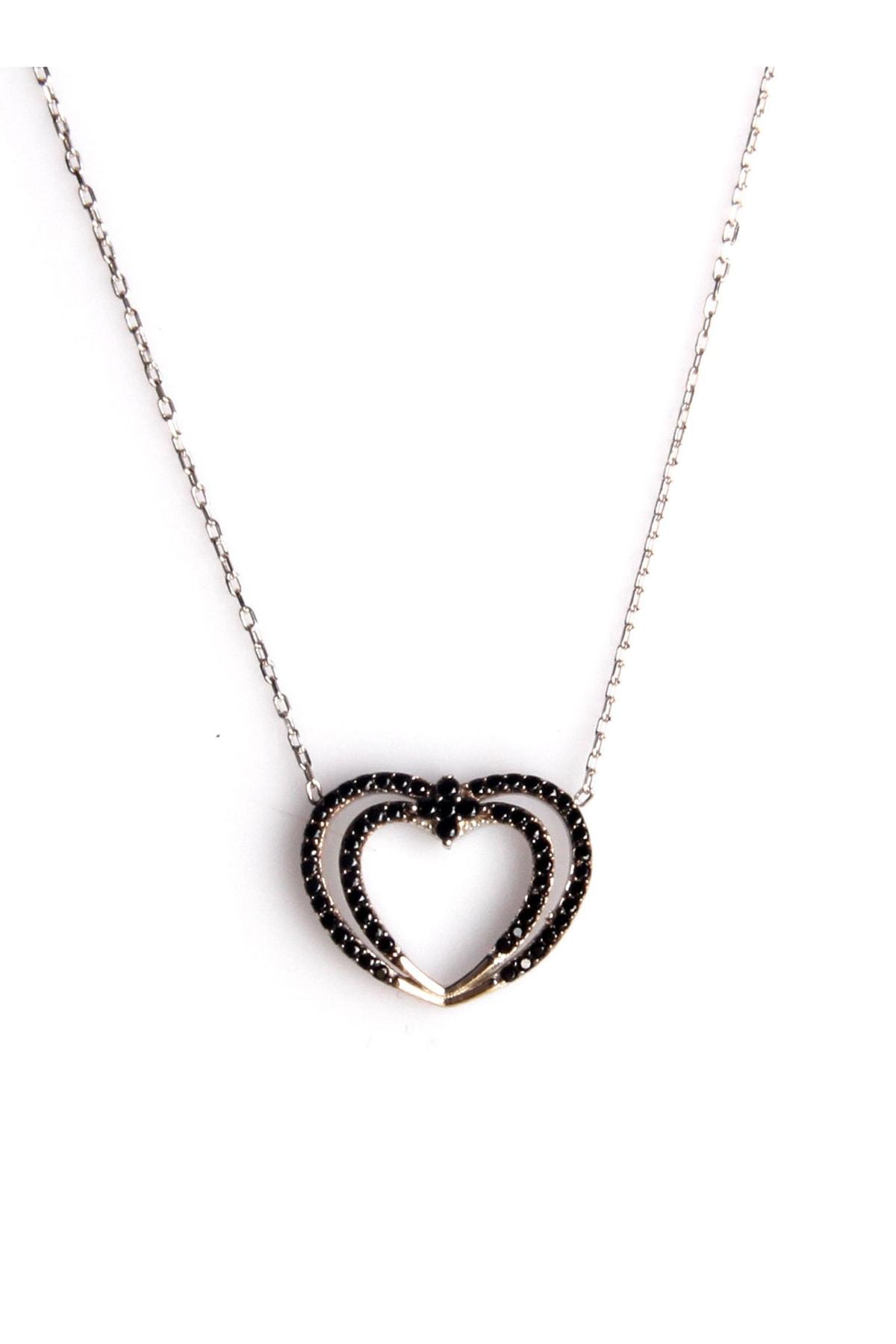 Sahra Zirkon Süslemeli Kalp Tasarım 925 Ayar Gümüş Kolye KLY-0066-27 1