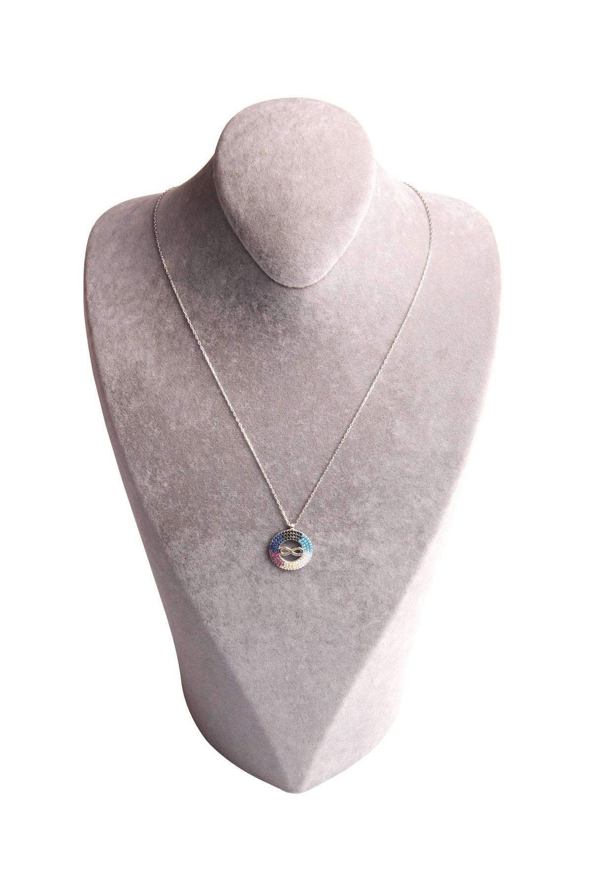 Sahra Renkli Zirkon Süslemeli Sonsuzluk Tasarım 925 Ayar Gümüş Kolye KLY-0066-32 2