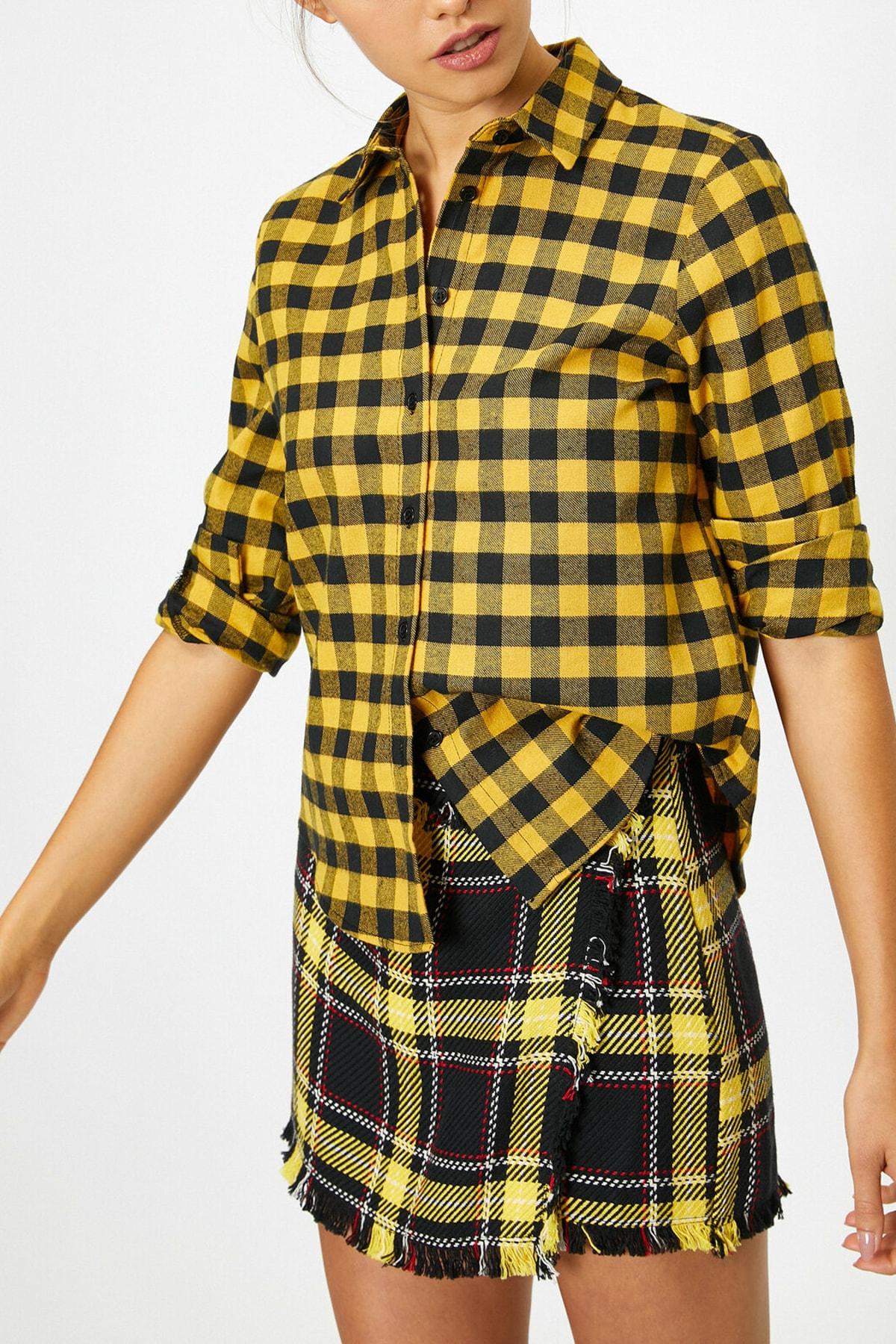Koton Kadın Sarı Kareli Gömlek 0KAL68584IW 1