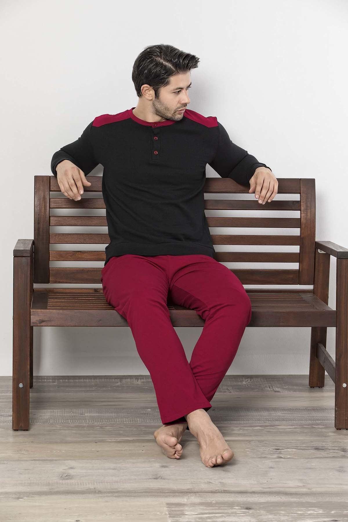 İPEKTENİM TEKSTİL Erkek Siyah Düğmeli Pijama Takım