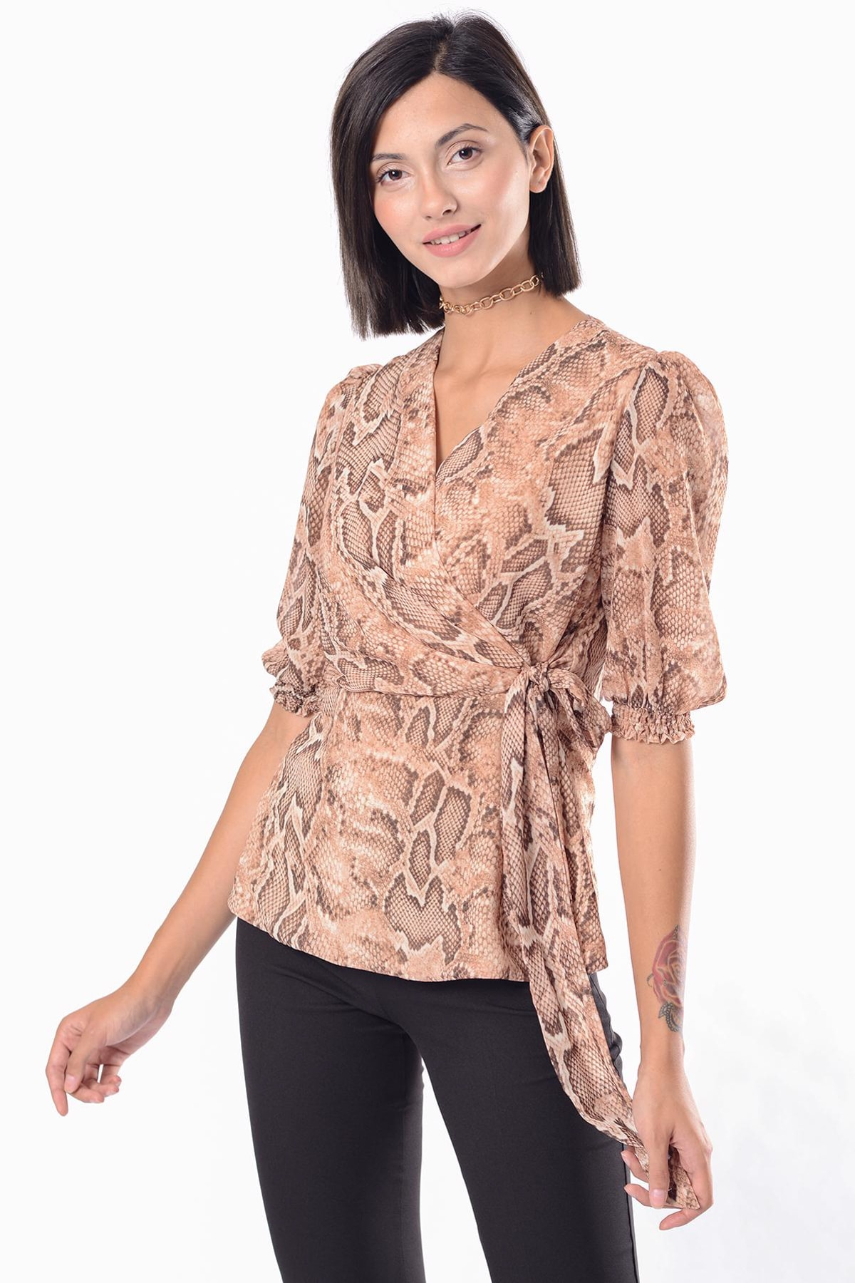 İroni Kadın Vizon Yılan Desenli Kruvaze Bluz 3999-1309 1