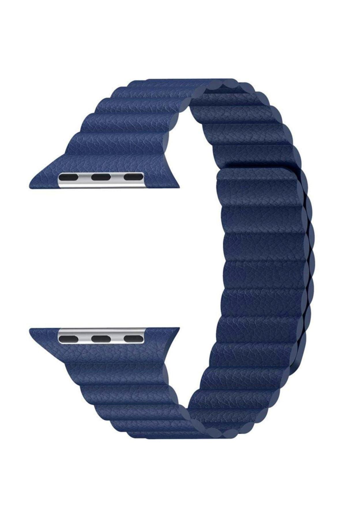 Telefon Aksesuarları Watch Series 5 44mm Twist Leather Loop Kordon, Microsonic Lacivert 2