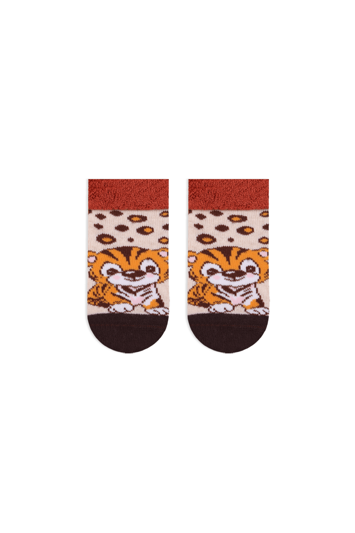 Bross Bebek Bej Kaplan Desenli  Taban Altı Kaydırmaz Baskılı Havlu Çorabı