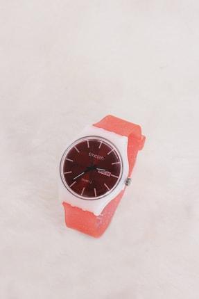 TAKIŞTIR Kırmızı Renk Kasa Pembe Renk Silikon Kordonlu Kadın Saat