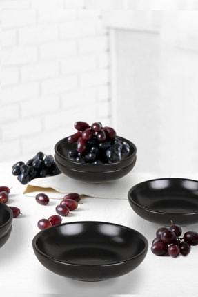 Keramika Mat Siyah Halka Çerezlik/Sosluk 13 Cm 6 Adet