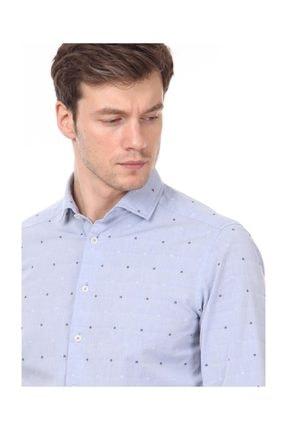 Ramsey Erkek Mavi Desenli Dokuma Uzun Kollu Gömlek