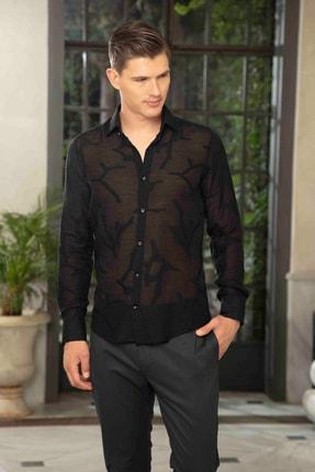 Mondo Karışık Desenli Yakma Kumaş Transparan Siyah Gömlek