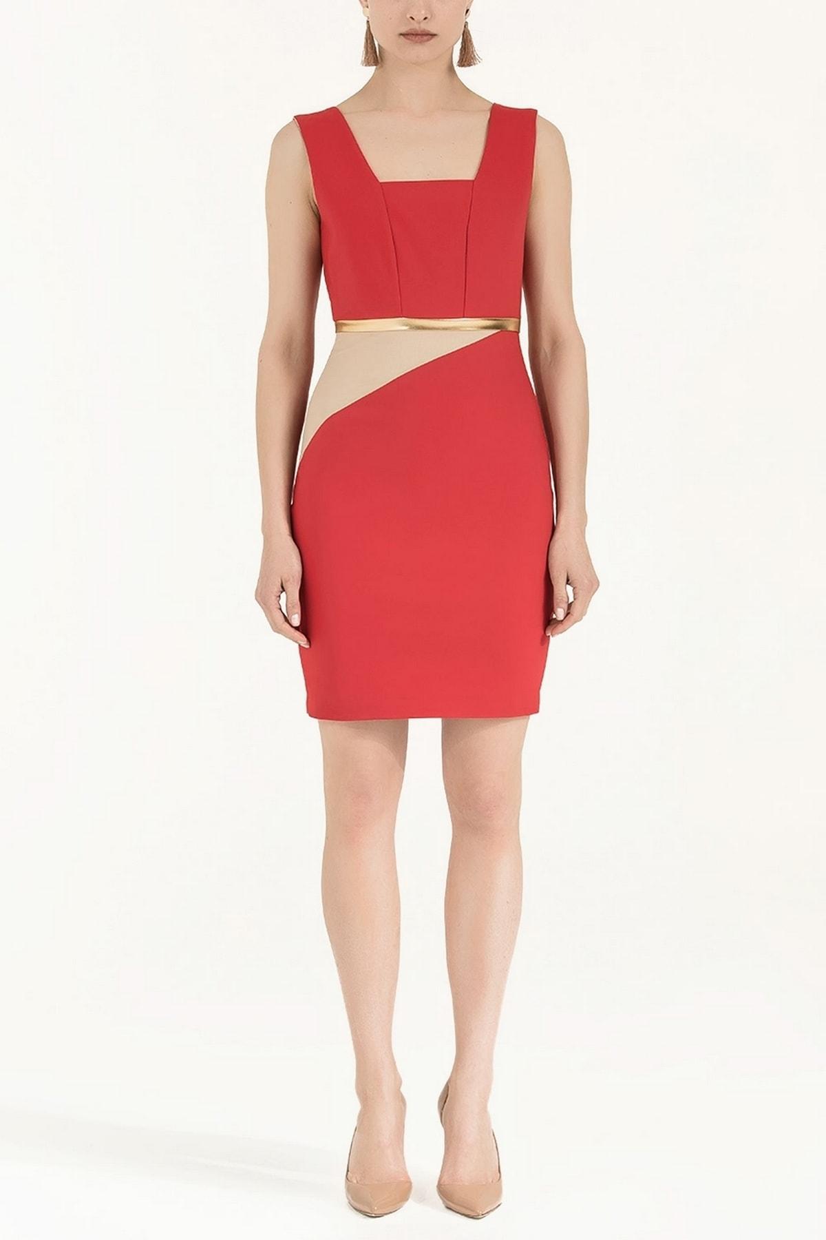 SOCIETA Lame Mixli Elbise Kırmızı 91565 1