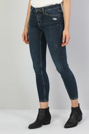 Colin's KADIN 759 Lara Orta Bel Dar Paça Super Slim Fit Koyu Mavi Kadın Jean Pantolon CL1046982