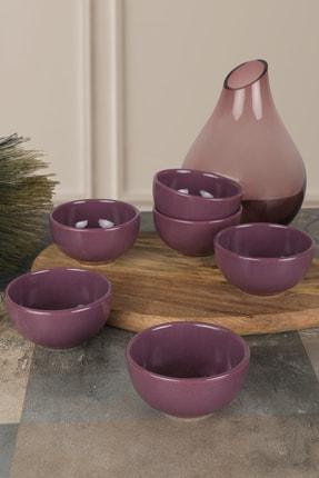 Keramika Mor Bulut Mini Çerezlik / Sosluk 8 Cm 6 Adet