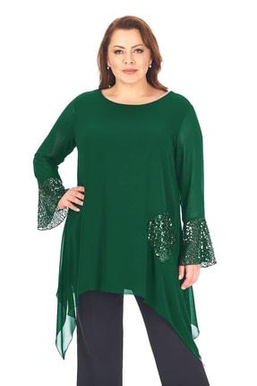 LİLAS XXL Kadın Yeşil  Büyük Beden Tunik 20010015420000