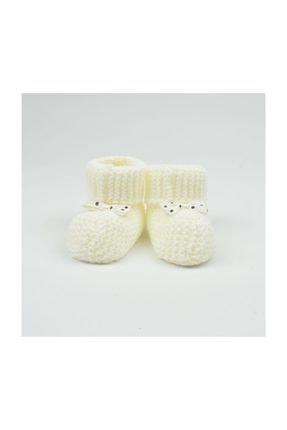 Bibaby Beyaz Triko Bebek Patiği