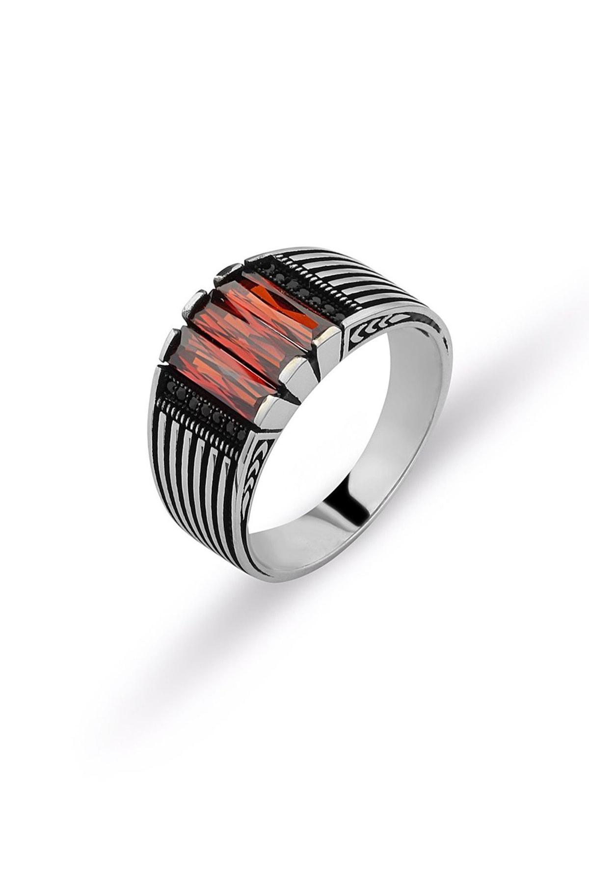 MySilvers Kırmızı Zirkon Taşlı Erkek Yüzüğü Erkek Oksit Kırmızı Zirkon 1