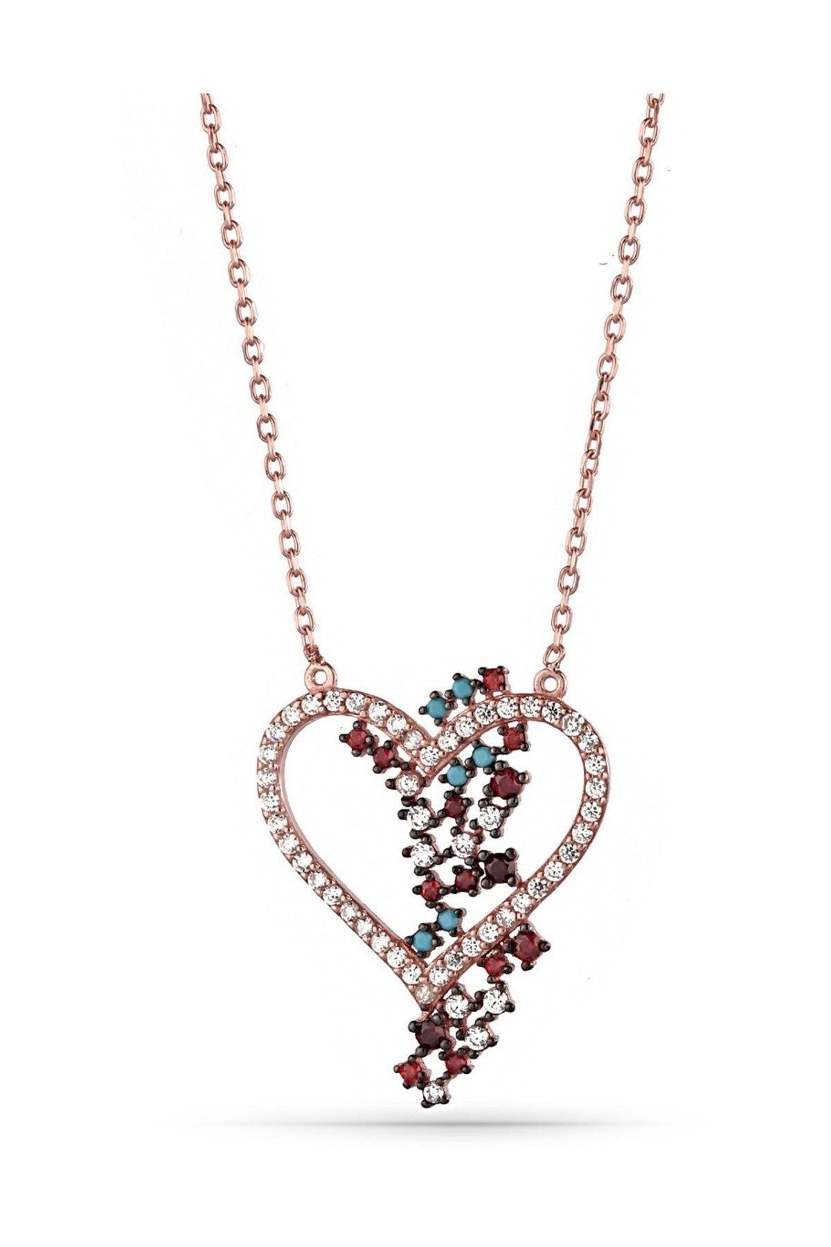 MySilvers Renkli Kalpli Gümüş Kolye Kadın Rose Zirkon 1
