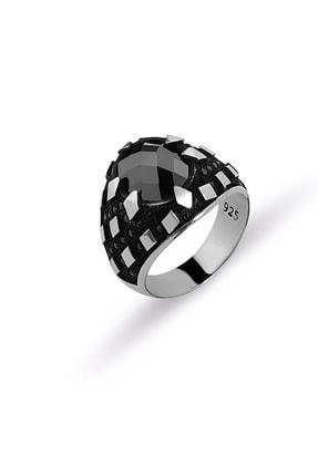 MySilvers Oniks Taşlı Erkek Yüzüğü Erkek Oksit Onix