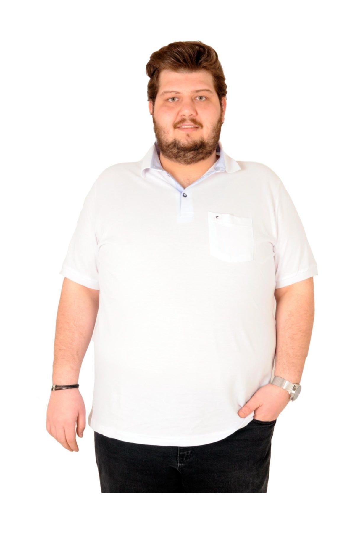 ModeXL T-shirt Polo Yaka Cepli Klasik Beyaz 1