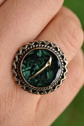 Stoneage Yeşil Ebru Elif Figürlü Ayarlanabilir Bayan Yüzük