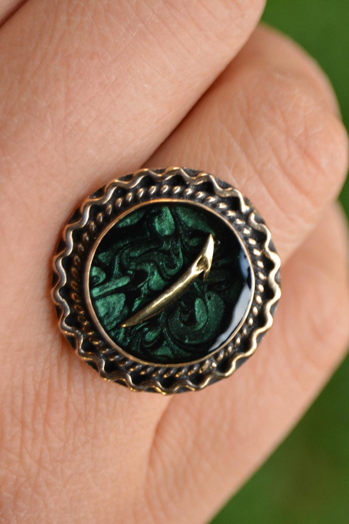 Stoneage Yeşil Ebru Elif Figürlü Ayarlanabilir Bayan Yüzük 1