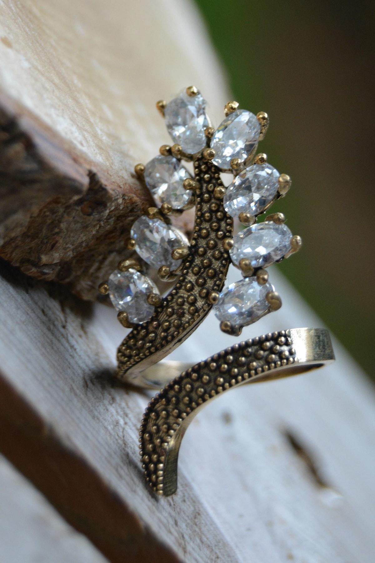 Stoneage Zirkon Taşlı Ayarlanabilir Yaprak Kadın Yüzük 1