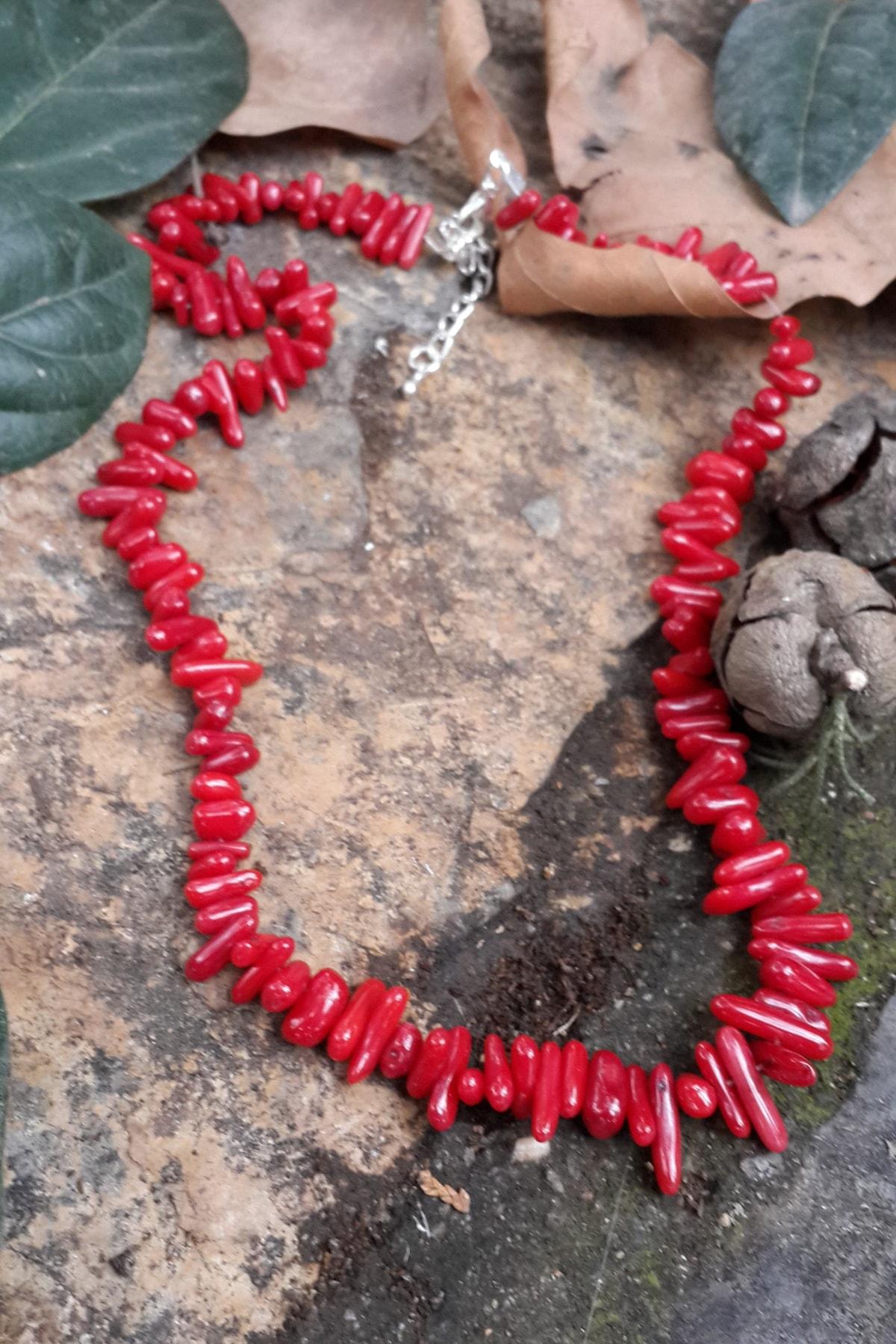 Stoneage Hediye Bayan Kolye Doğal Taş Kırmızı Mercan 1
