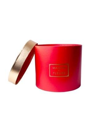Partici Kırmızı Silindir Altın Kapaklı Hediye Kutusu 19x19x16cm