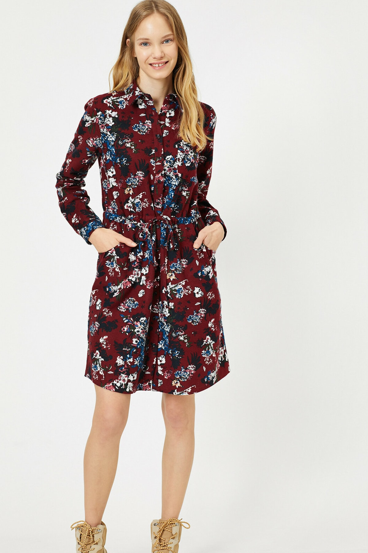 Koton Kadın Bordo Desenli Elbise 0KAL88522IW 2