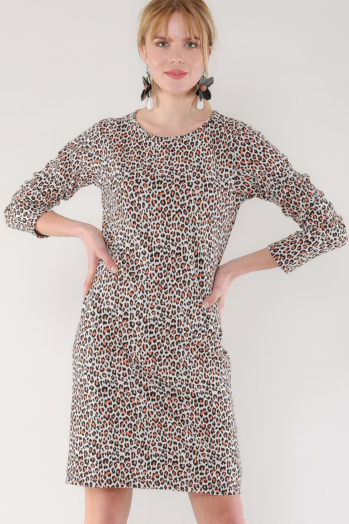 Chiccy Kadın Multı Leopar Desenli Sıfır Yaka Elbise M10160000EL97468