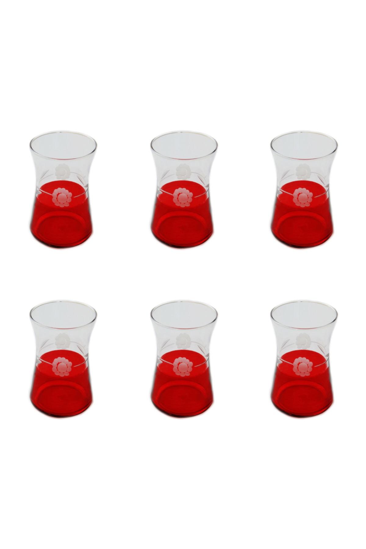 BAŞAK 42361 Heybeli Kırmızı Papatya Dekor 6 Adet Çay Bardağı 2