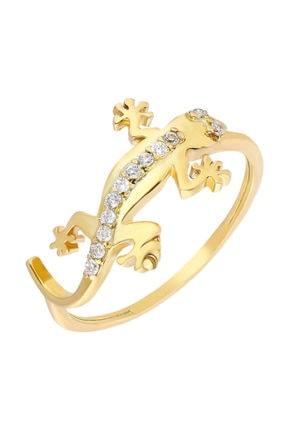 Tesbihane Zirkon Taşlı Kertenkele Tasarım Gold Renk 925 Ayar Gümüş Bayan Yüzük