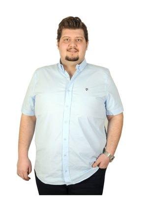ModeXL Büyük Beden Erkek Mavi Gömlek