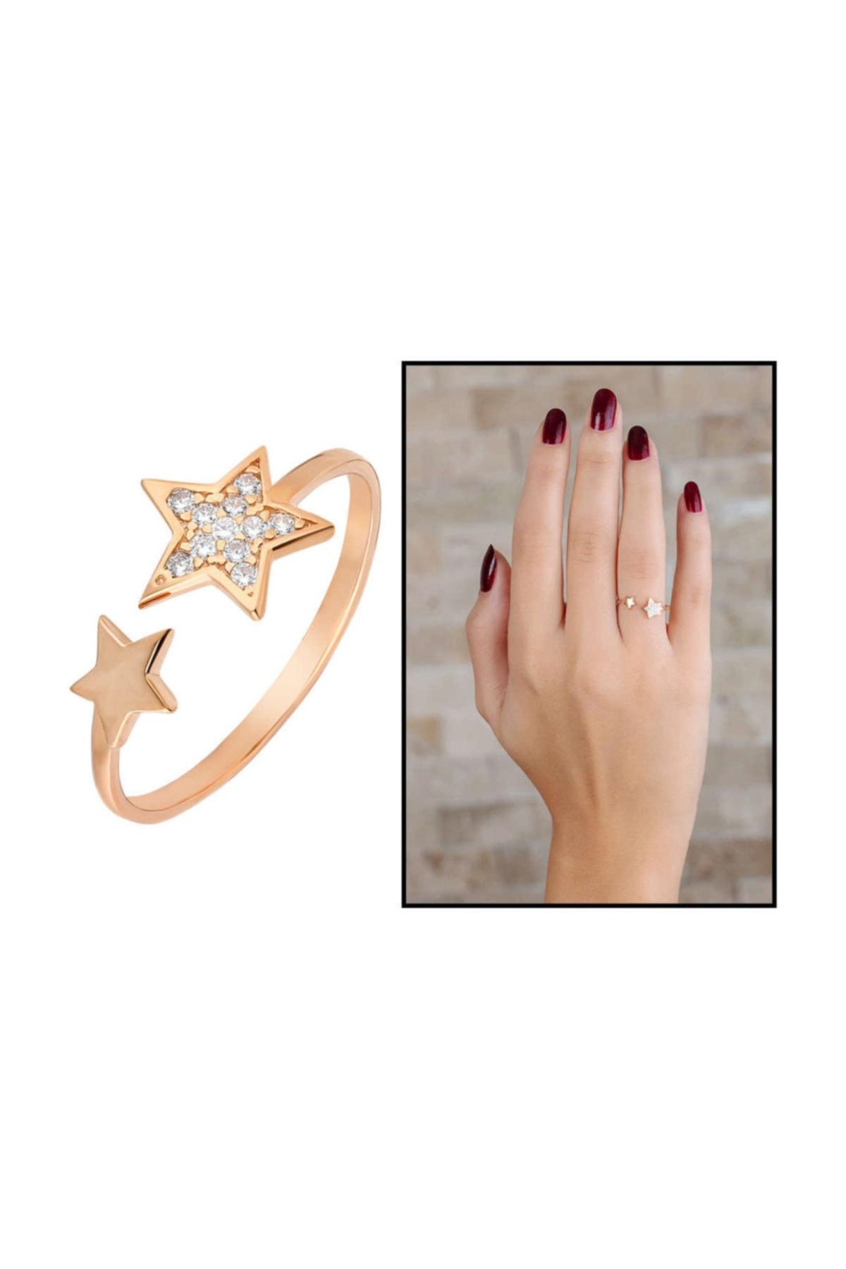 Tesbihane Zirkon Taşlı Yıldız Tasarım Rose Renk 925 Ayar Gümüş Bayan Yüzük 2