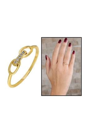 Tesbihane Zirkon Taşlı Sonsuzluk Tasarım Gold Renk 925 Ayar Gümüş Bayan Yüzük