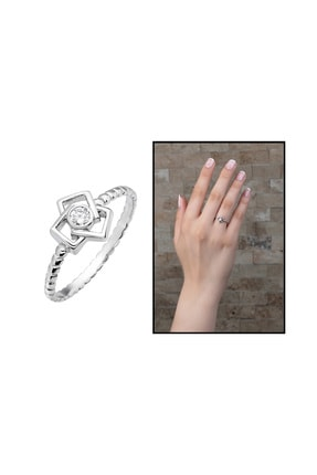Tesbihane Bakla Tasarım 925 Ayar Gümüş Kadın Tektaş Yüzük 102001580