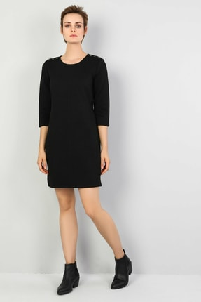 Colin's KADIN Regular Fit Düz Mini Siyah Elbise CL1047106