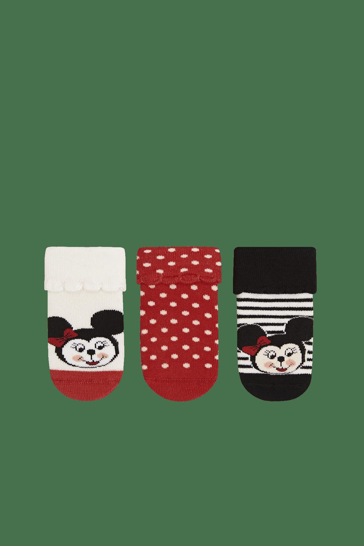 Bross Unisex Bebek Asorti 3'Lü Paket Minnie Desenli Taban Alti Kaydirmaz Baskılı Havlu Çorabı