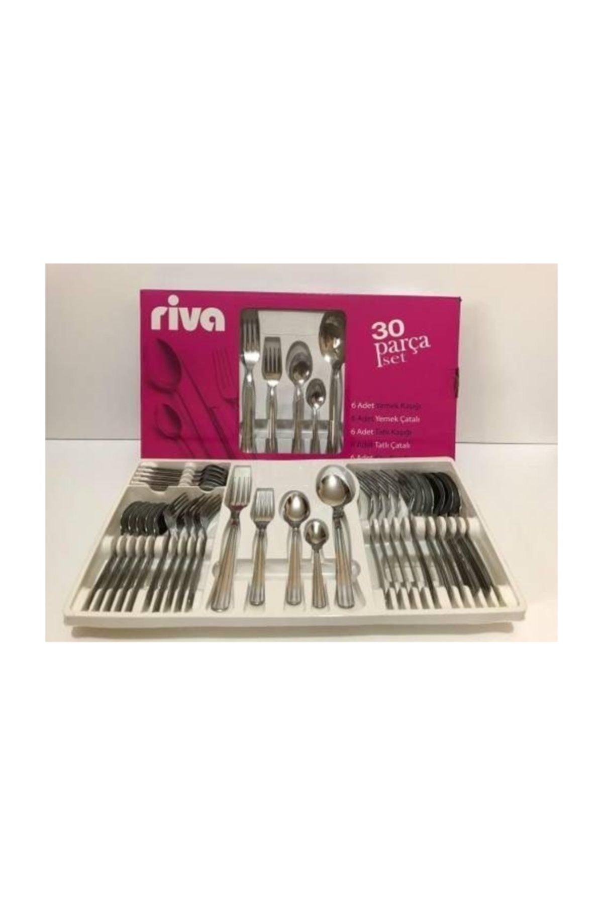 Riva 30 Parça Çatal Kaşık Takımı Yemek Kaşığı Yemek Çatalı Tatlı Kaşığı Tatlı Çatalı Çay Kaşığı Set 1