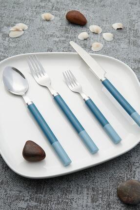 ACAR Mavi Laura Paslanmaz Çelik  Kaşık Çatal Bıçak Takımı 24 Parça