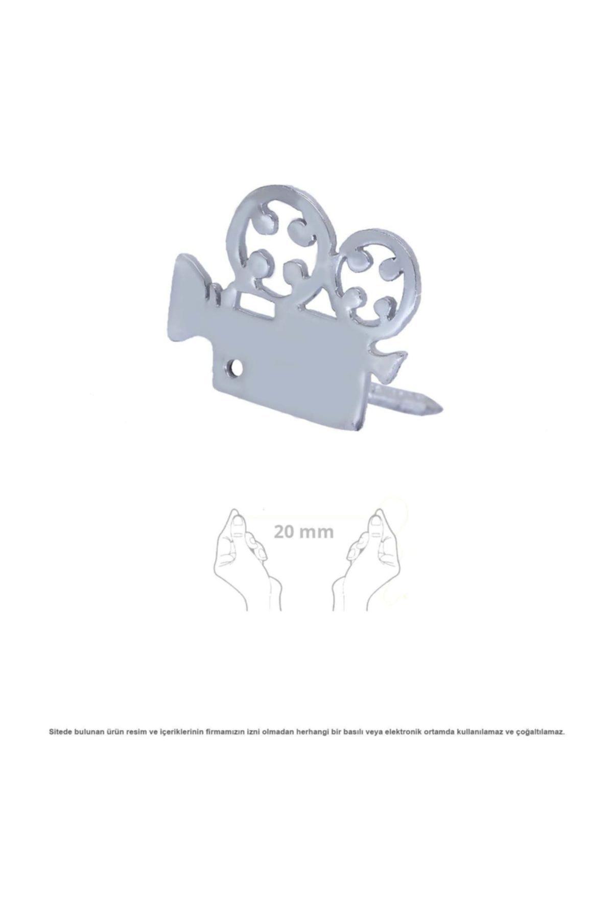 Çağrı Gümüş Sinema Kamera Figürlü Gümüş Broş Rozet 1