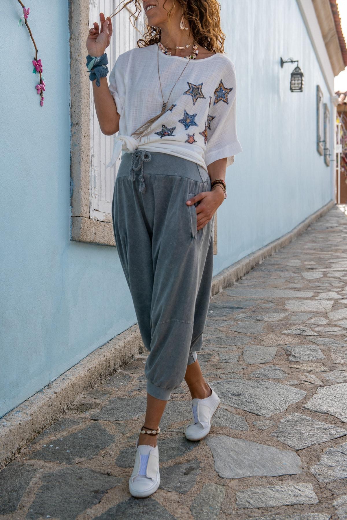 Güneşkızı Kadın Gri Yüksek Bel Cepli Beli Lastikli Şalvar Pantolon GK-RSD2004