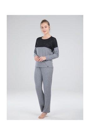 Blackspade 50053 Sıfır Yaka Uzun Kol Spor Bayan Pijama Takımı