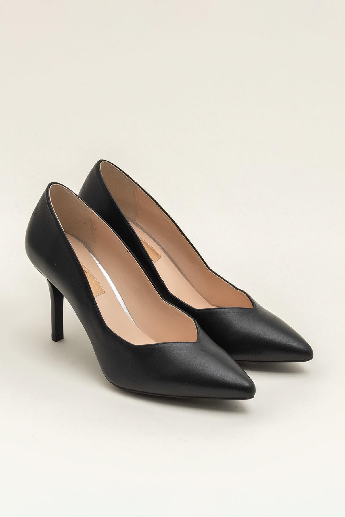 Elle Shoes Hakiki Deri Siyah Kadın Topuklu Ayakkabı 2