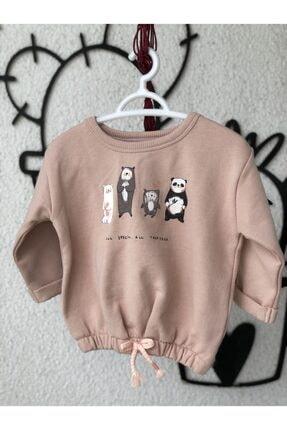 baby kunns Kız Bebek Pembe Baskılı Uzun Kol  Sweatshirt